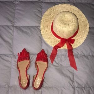Banana Republic Red Flats (hat included)